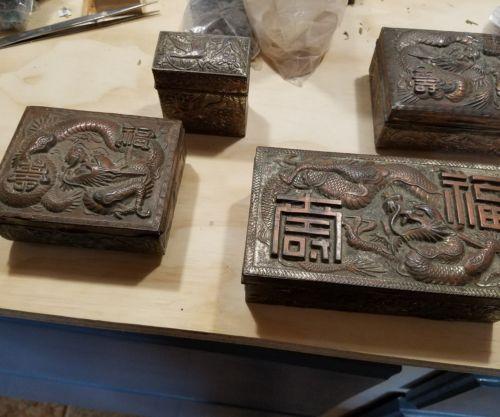 Antique Dragon metal boxes (4)