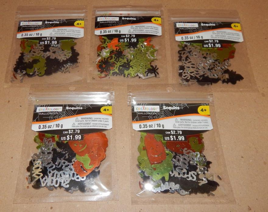 Halloween Craft Sequins Creatology 5pks Ghosts Pumpkins Bats Spooky 124N