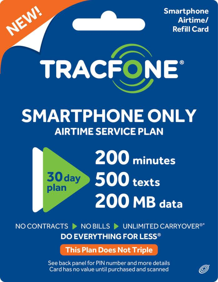 TracFone Smartphone Only Plan - 30 Days/200 Minutes/500 Text/200MB DATE NANO SIM