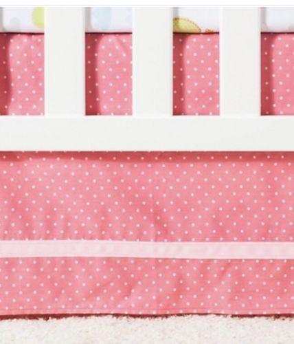 Circo Pink Polka Dot Girls Crib Skirt Dust Ruffle 14