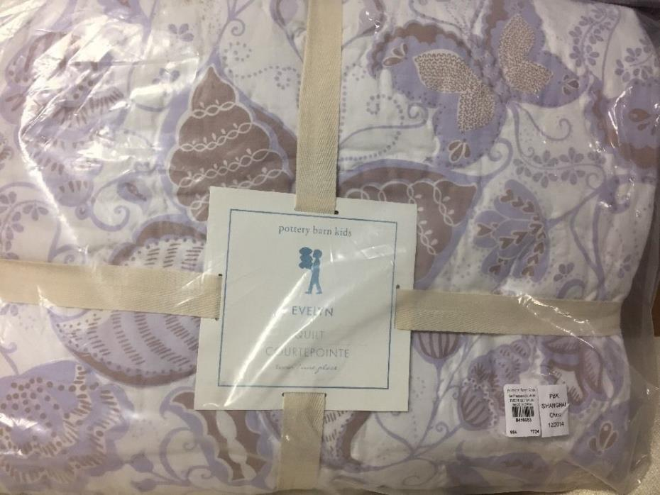 2pc Pottery Barn Kids Evelyn Butterfly quilt twin euro sham Lavender