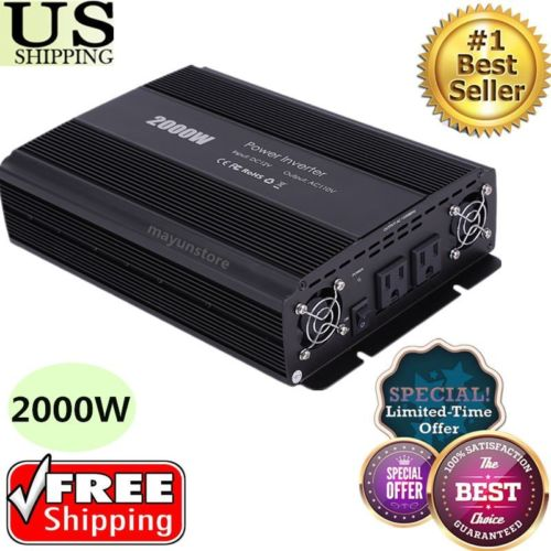 2000W/4600 Watt Cars Power Inverter 12V DC to 110V AC Adapter Charger Supply W