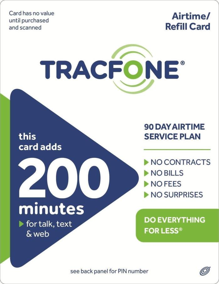 TracFone 200 Minute Plan - 90 Days/200 Minutes/200 Text/200MB Data = NANO SIM