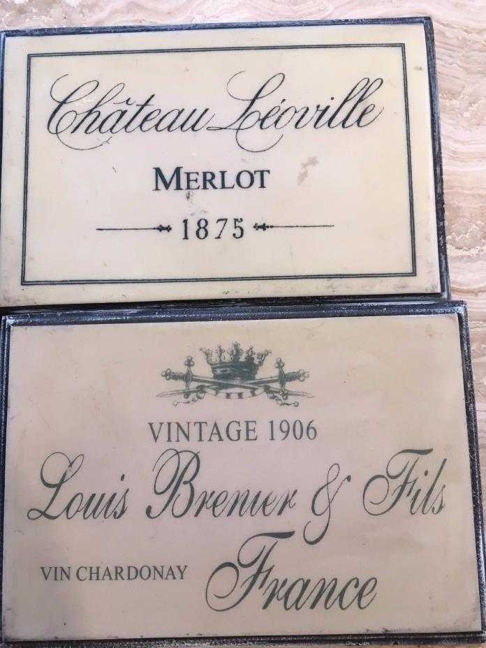 PAIR  French wine cellar room wall plaques
