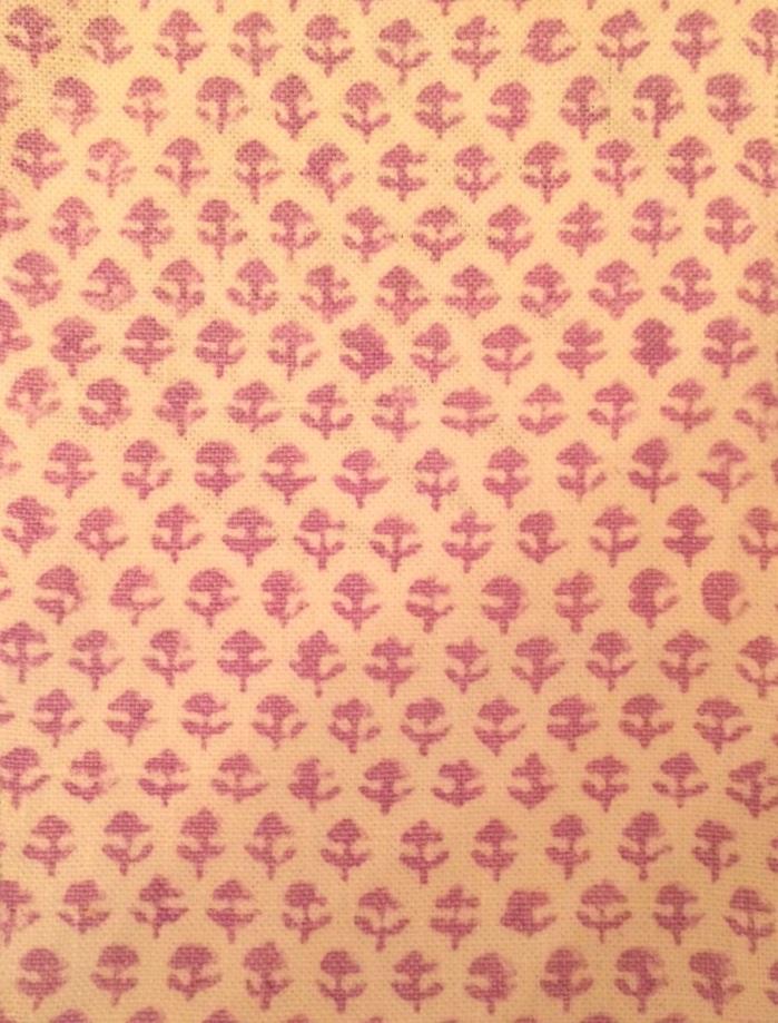 JOHN ROBSHAW Bindi Lavender Hand Block Printed Linen India Remnant New