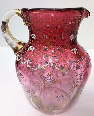 Moser Enameled Cranberry Glass Pitcher