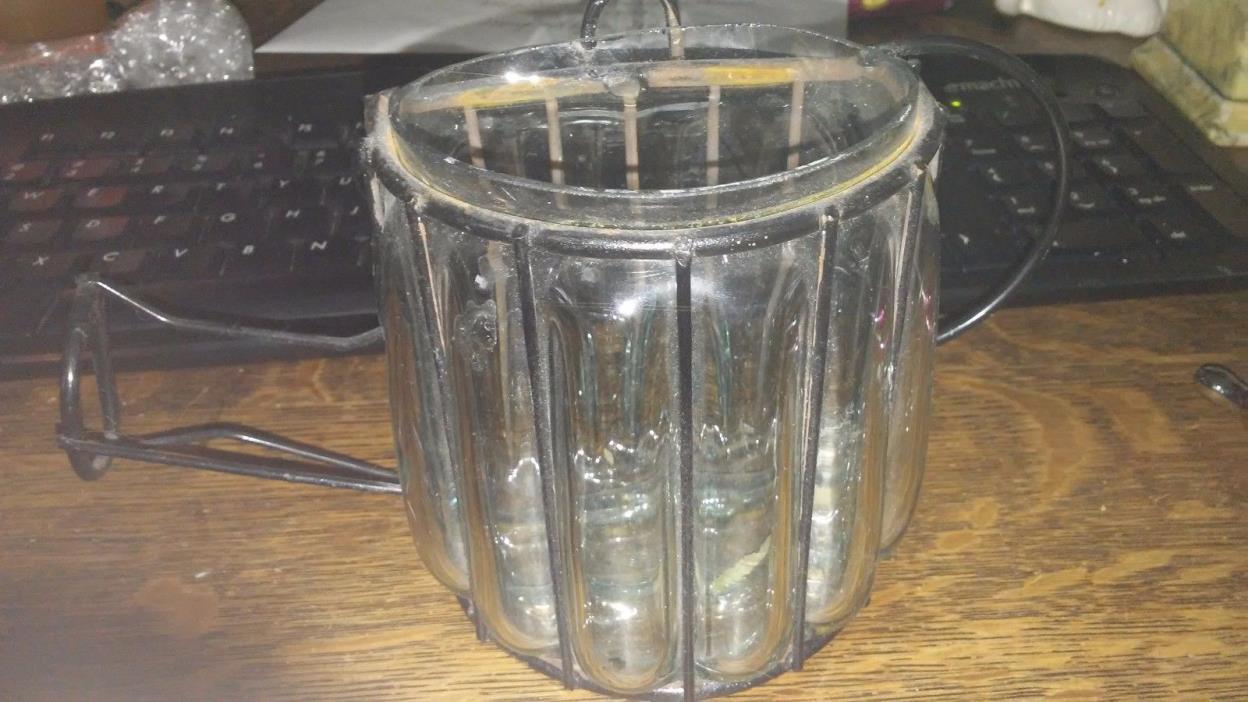 glass and metal teapot wall pocket