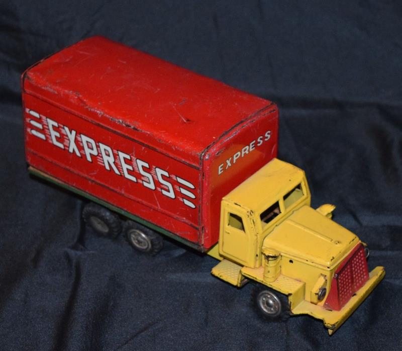 Vintage EXPRESS Cargo Delivery Truck Tin Friction Toy