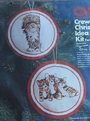Crewel Christmas Idea Kit -Puppy & Kitten Ornaments NIP_