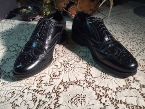 Vintage Florsheim Imperial Wingtip  Leather Shoes Men's 7.5 3E Black Made USA