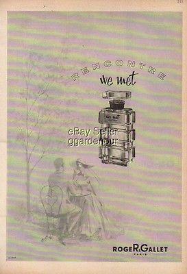 1959 Roger & Gallet Rencontre We Met Perfume Paris Bottle Retro 50s Fragrance Ad
