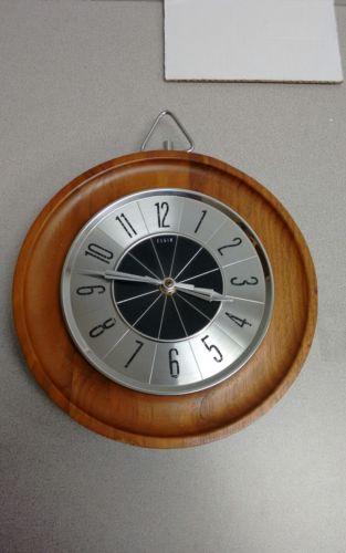 Elgin MCM Wood & Metal Wall Clock