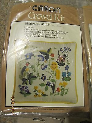 Lovely Vintage Caron WILDFLOWERS Crewel Embroidery Kit