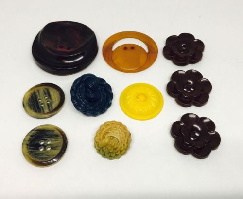 VTG Plastic Button Lot of 10 Sewing Shank Large Small Brown Yellow Red Tan Green