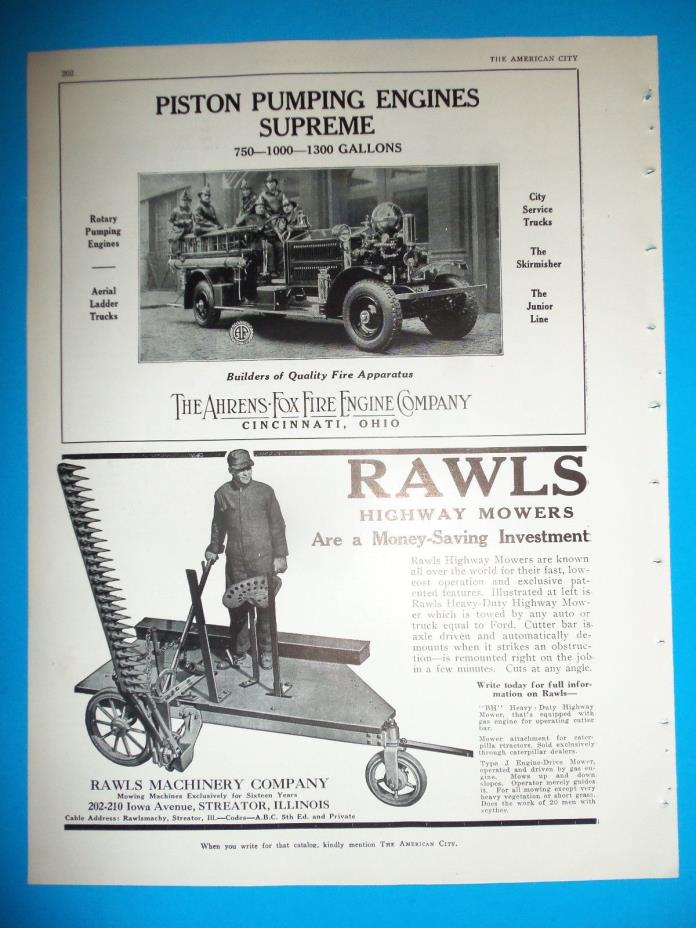 1930 AC Ads AHRENS - FOX Fire Engine Company Cincinnati Ohio RAWLS Highway Mower