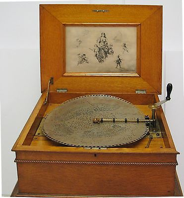 Regina Oak Music Box - 1880's  -  17 - 15 1/2 Inch Discs  - Very Good Condition
