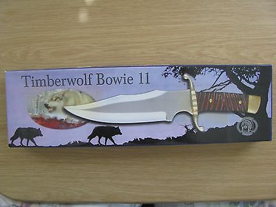 TIMBERWOLF BOWIE 2 CUSTOM DESIGN  Hunting knife W/Sheath  in Box  SEE PICS