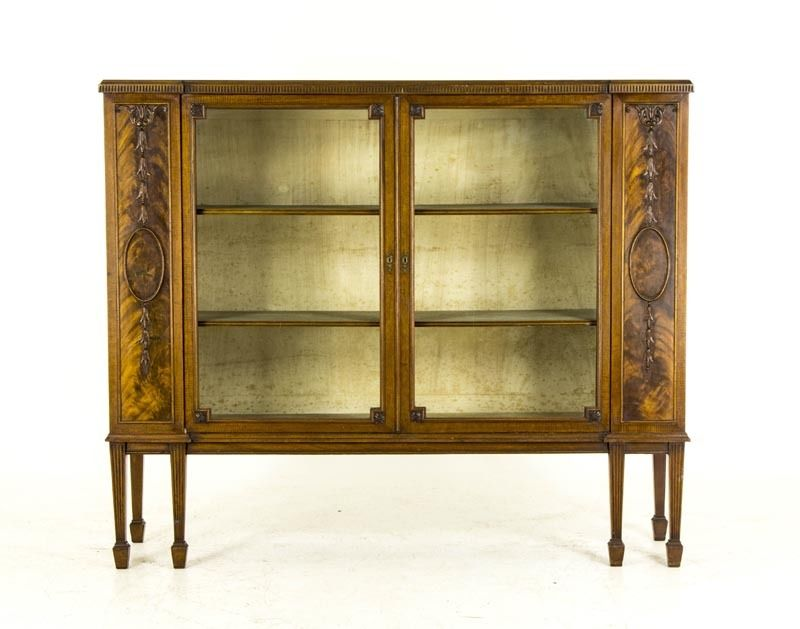 B481 Antique Scottish Early 20th Century Two Door Flamed Mahogany China Cabinet
