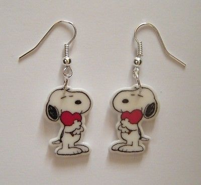 Valentines Snoopy  Heart Snoopy Peanuts Gang Earrings