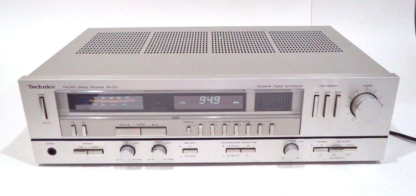 Technics SA-222 FM/AM Stereo Receiver Vintage Tested & Working Aluminum Face Qua