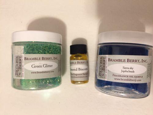 Lot Bramble Berry Soap Making Supplies Glitter Almond Fragrance Oil Jojoba Beads