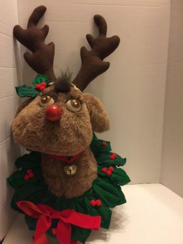 Handmade Plush Reindeer Wreath / Mounted Decor Wall Hang Well Made & VTG