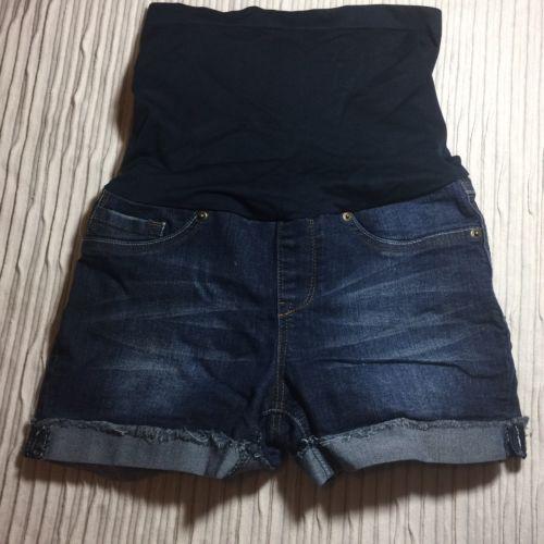 EUC Blue Denim Medium Jean Summer Shorts MATERNITY Panel HAUTE MAMA Pants
