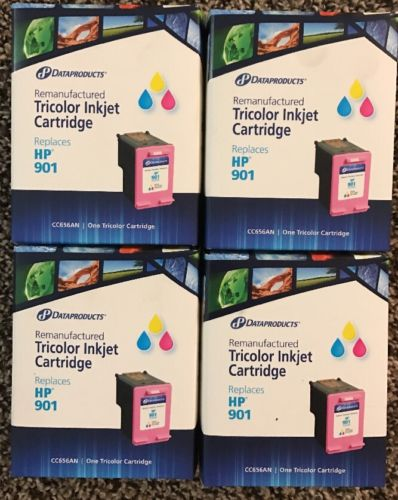 Lot Of 4 Dataproducts Remanufactured HP 901 Color Ink Cartridge 4 Sealed Boxes