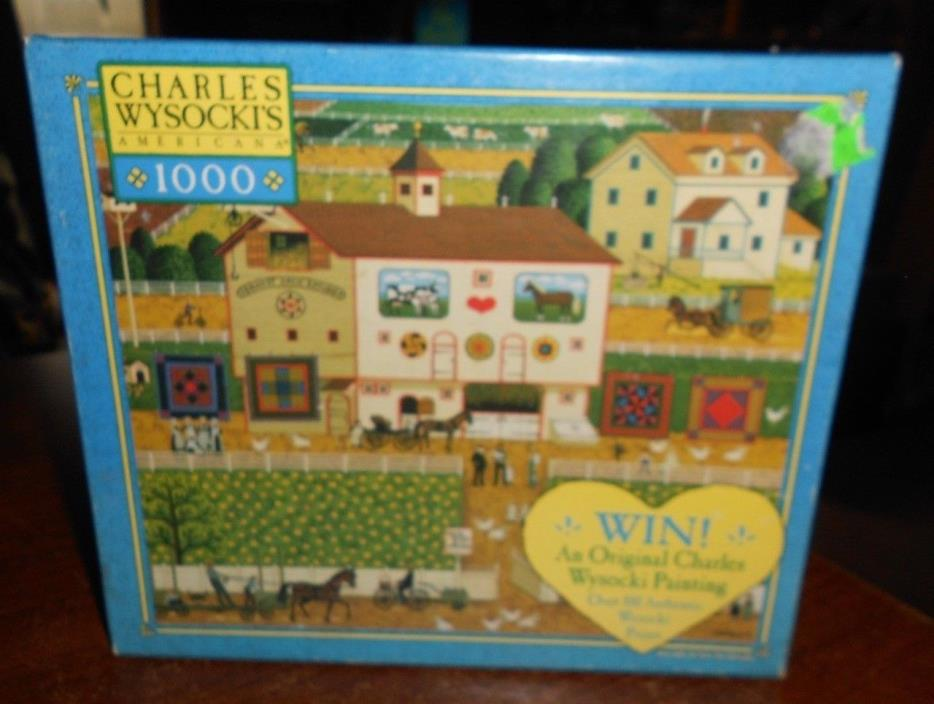 milton bradley charles wysocki's 1000pc puzzle amish neighbors