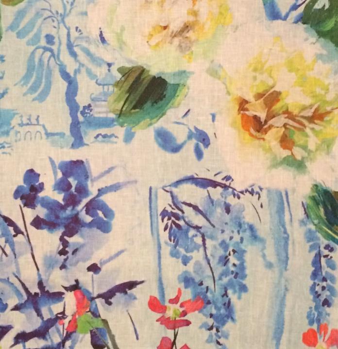 DESIGNERS GUILD Majolica linen floral multi new remnant