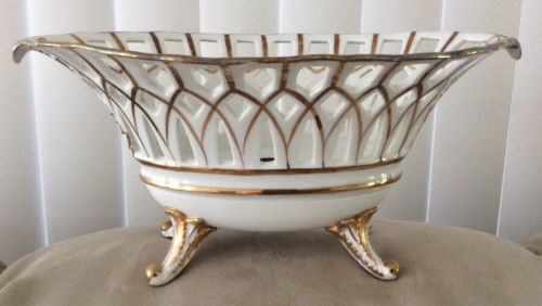 Antique Old Paris Gold Reticulated Centerpiece 4 Legged Oval Compote Bowl 10.5