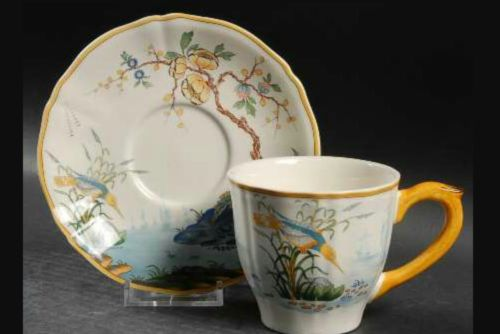 Gien China Caraibes set of four Cups and saucers