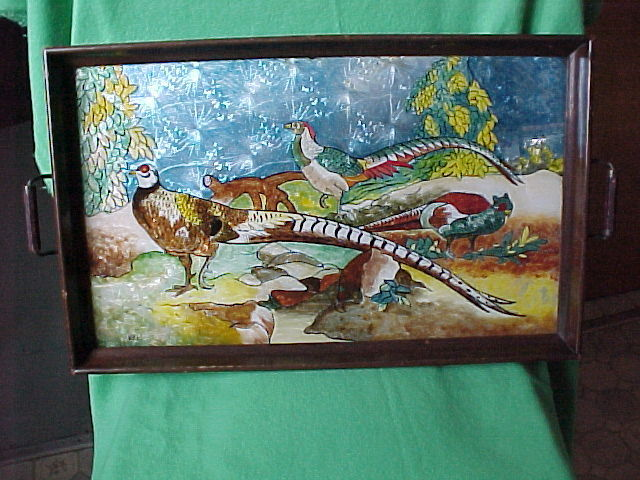 Antique Serving Tray Exotic Birds Beautiful Reverse Painting On Glass Signed