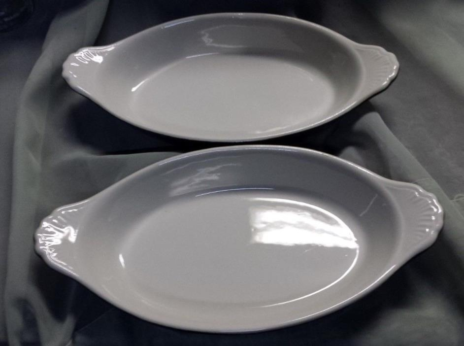 Hall 529 Green White Baking Serving Dishes Set of 2