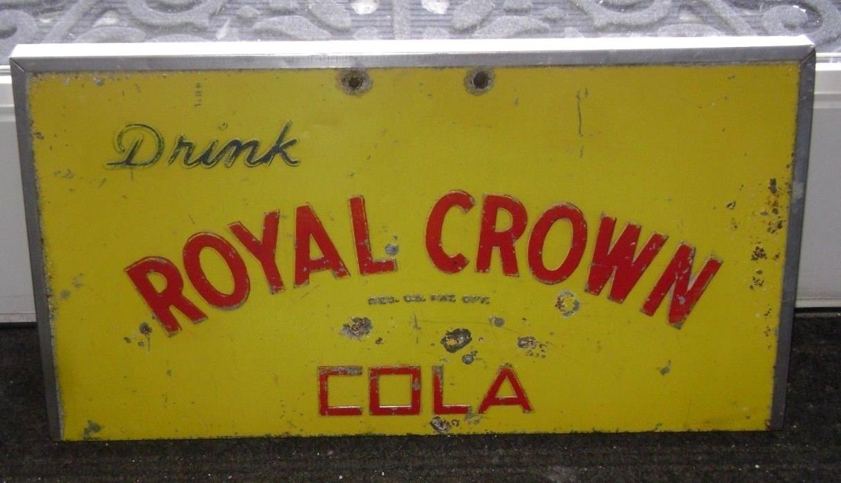 Vintage Drink ROYAL CROWN Cola SIGN / embossed lid -- RC soda