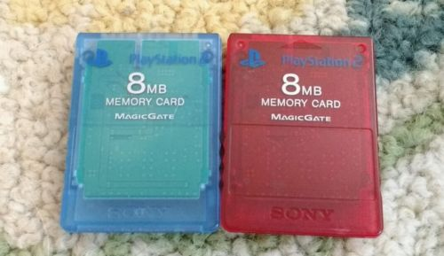 2 PS2 memory cards red blue Sony Playstation 2 8 MB