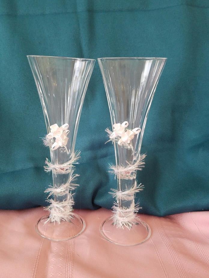 Wedding Champagne Toasting Flutes OOAK Artisan Made