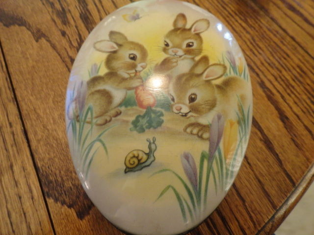 Vintage Easter Candy Pink Tin Egg Baby Bunnies Made in England The Metal Box Co.