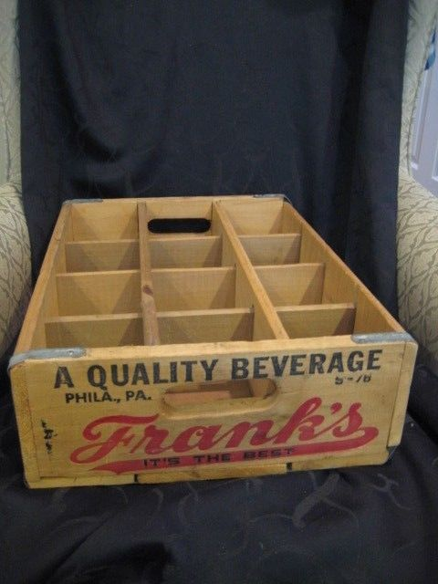 Frank's Beverages Soda Wooden Crate Philadelphia PA Wood Pop Crate Advertising