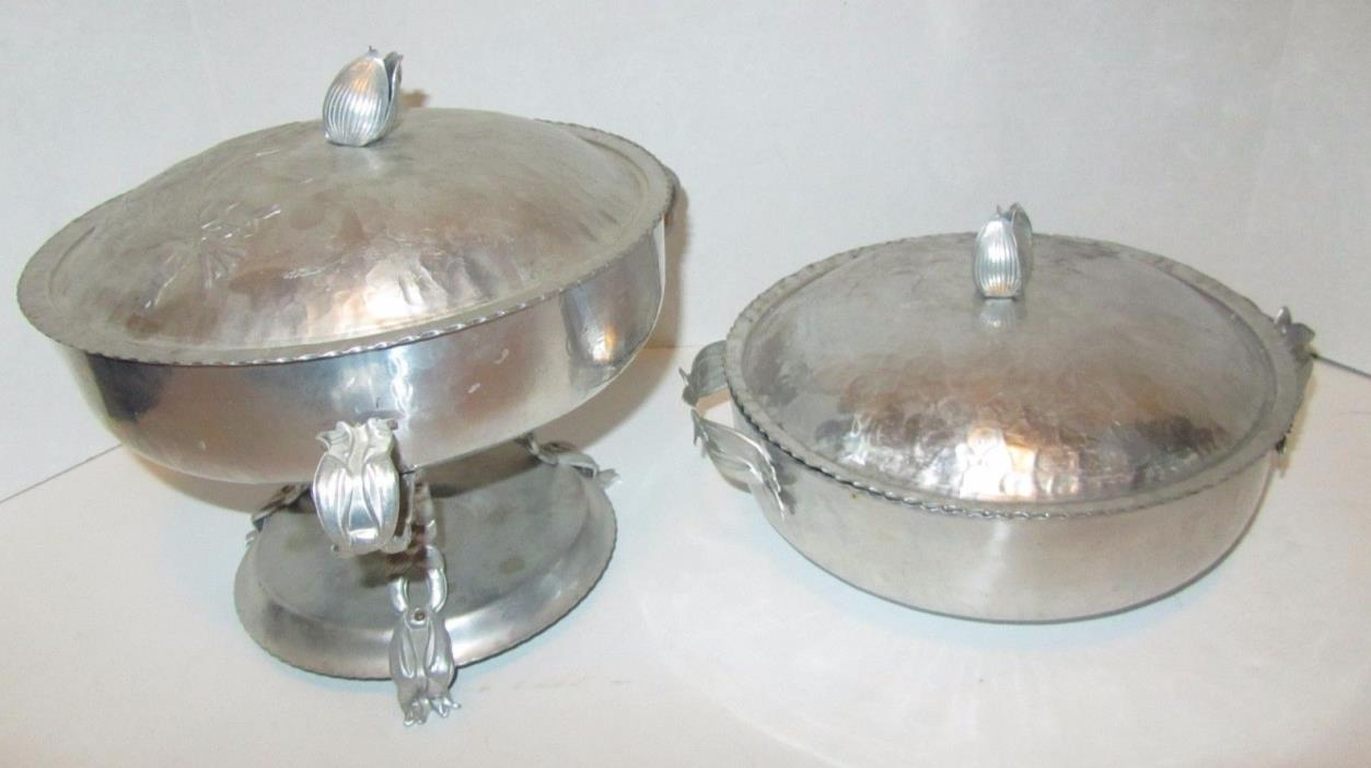 Vintage HAMMERED CHAFING DISH W EMBOSSED TULIPS Covered Casserole Dish