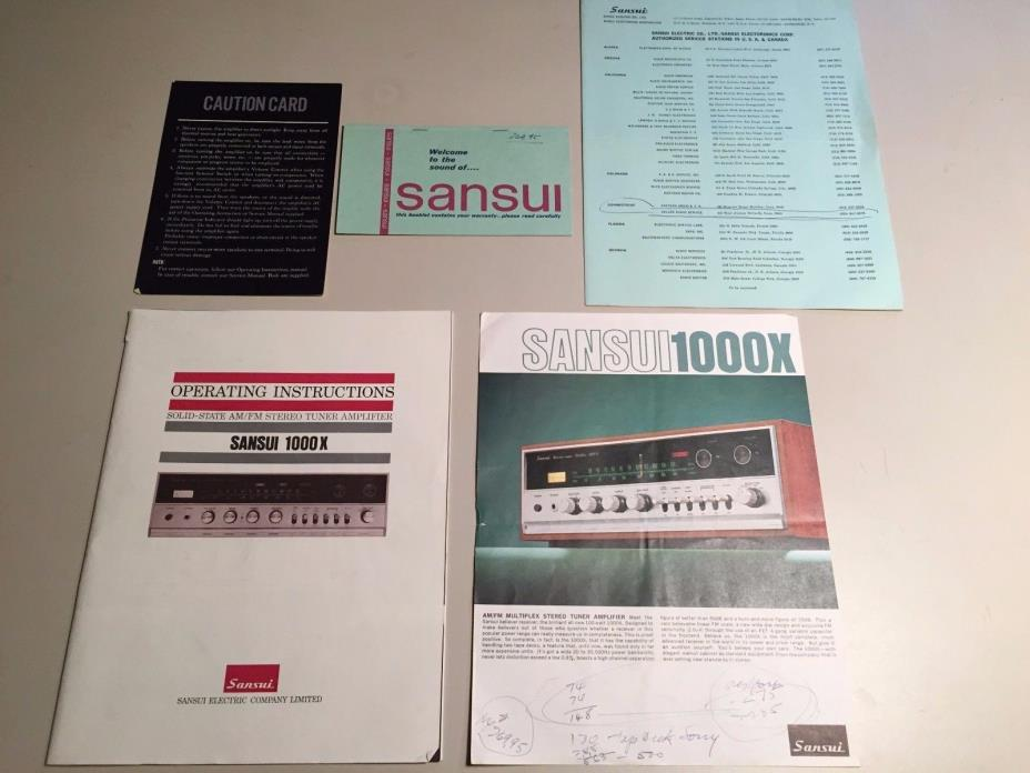 Sansui 1000x AM/FM Stereo Tuner Amplifier Operating Instructions