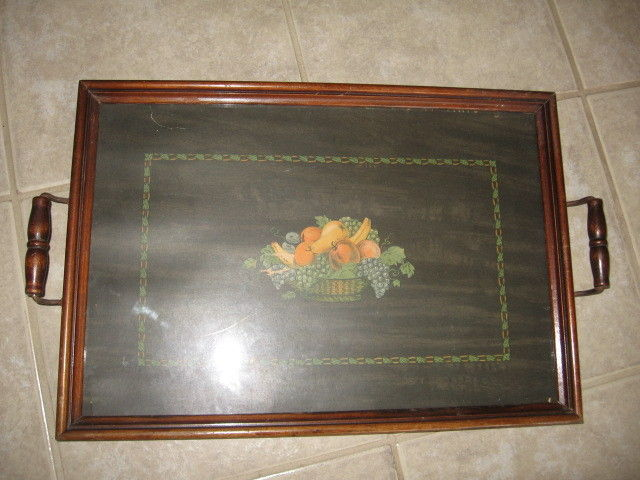 Vintage tray wood for sale classifieds for Wooden canape trays