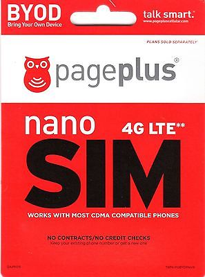$ PAGE PLUS 4G LTE NANO SIM CARD - GET UNLIMITED VERIZON WIRELESS BY PAGE PLUS *
