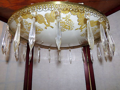 Vintage Ceiling Light Chandelier Shade Prisms Crystal Gold Mid Century Glass Art