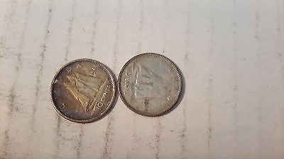 TWO 1944  CANADA 10 CENTS COINS