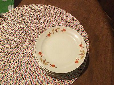 Hall China Jewel Tea Autumn Leaf  Bread & Butter Plates  8