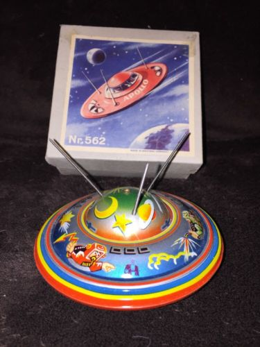 1950's/60's Apollo Flying Saucer NR 562 West Germany Tin Friction Toy New In Box