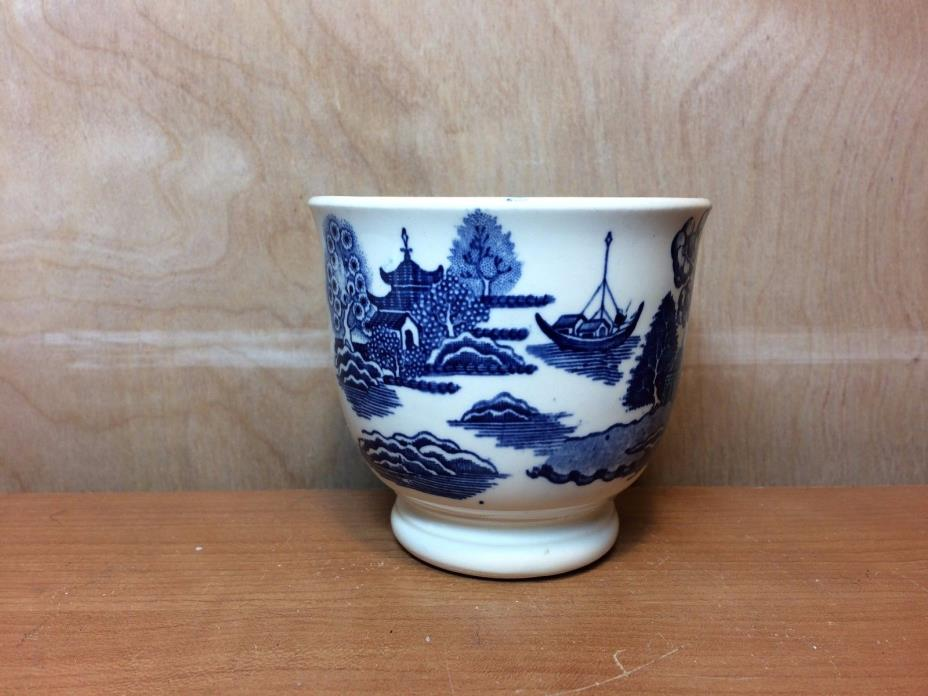 Antique Blue Willow Sake Cup with Pedestal
