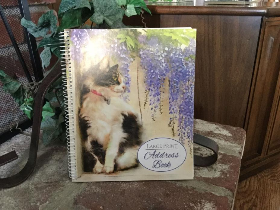 Beautiful Large Print Address Book With Lovely Cat & Flowers 56 Pages