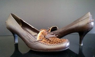 Nine West One of a Kind Vintage Women Shoes Animal Print Calf Hair - Size 9 M